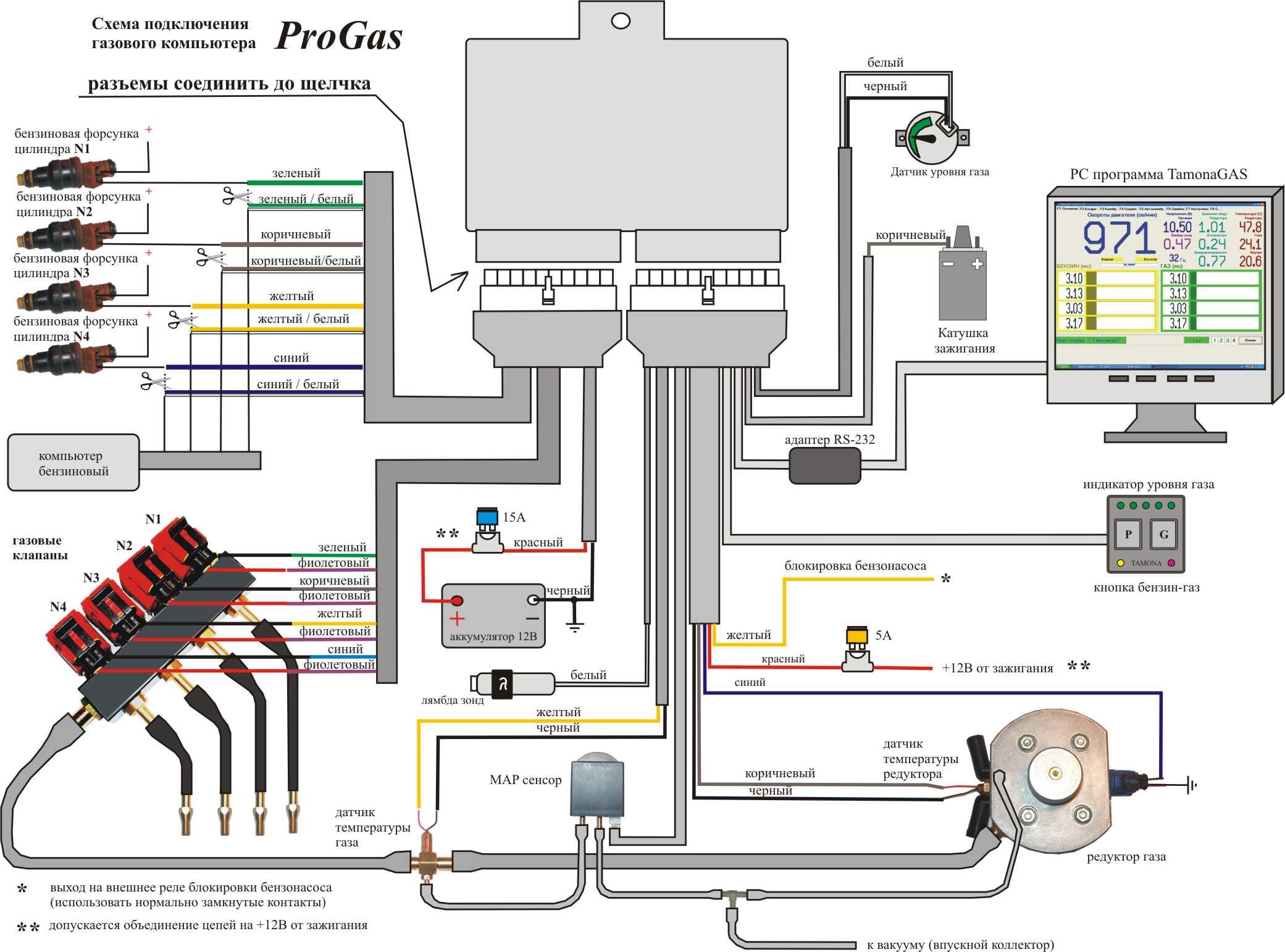 Электронная схема газ бензин